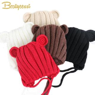 Knitted Winter Baby Hat with Ears Cartoon Lace-up Children Kids Baby Bonnet Cap for 1-3 Years 5 Co