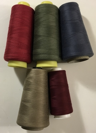 Polyester Thread Spool Lot of 5 Threads USA and more - Green, Red, Desert Tan, Granite Gray