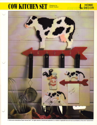 Awesome Cow Kitchen Set Plastic Canvas