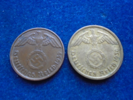 1938 & 1939 NAZI GERMANY THIRD REICH COINS...FULL DATES!