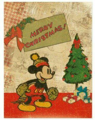 Mickey Mouse Vintage Style Christmas Postcard