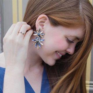 JURAN Big Crystal Star Statement dangle Earrings For Women