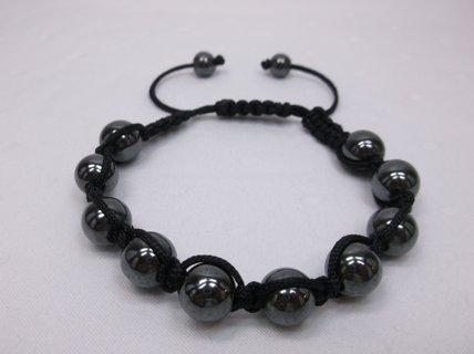 Hematite Black Nylon Macrame Adj Bracelet