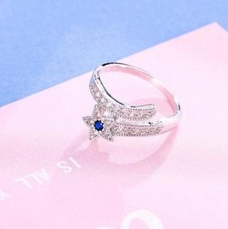 Fashion Open Size Cute Star Blue Crystal Rings For Women 925 Silver CZ Rhinestone