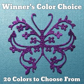 """Winner's Choice: 3"""" Glitter Silk Flowery Butterfly Die Cut"""