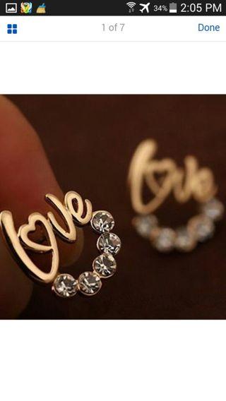 "Fashion Women Lady Elegant Crystal Rhinestone Ear Stud Earrings ""love"" gift"