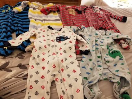 6 Baby Boy stretchies 3-6mo, 6 .free shipping gin.