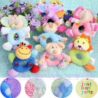 Animal Model Wrist Hand Bell Rattle Soft Plush Stuffed Baby Kids Educational Toy