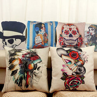Square Linen Pillow Case Skull Printed Cushion Cover Home Sofa Car Decor Perfect