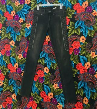 WOMEN'S H&M DISTRESSED BLACK JEANS PANTS 27 x 32 SKINNY PANTS