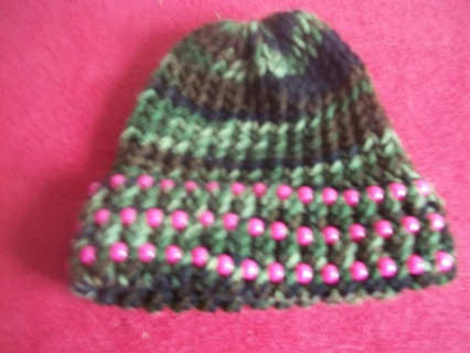 Knit Girl's Camo Hat with Pink Beading