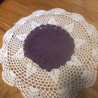 "15X15"" White Table Doily and(4) Purple 6.5x6.5""Doilies."