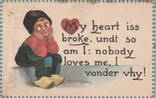 Vintage Used Postcard: 1913 My Heart is Broke