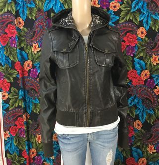 1 AVIATOR JACKET Faux Brown Leather Jacket Pleather Hooded Cheetah Print Inside