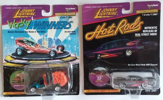 Lot of 2 Johnny Lightning Die-Cast Cars Hot Rods & Wacky Winners