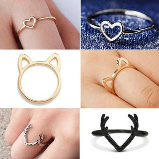 Women Cute Gold Silver Black Animal Hollow Cat Heart Antler Shape Ring Jewellery