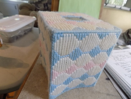 hand made needlepointed pink, white and blue pattern tissue box cover