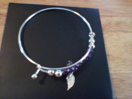 Avon Purple Peace Beaded Bangle Bracelet: New