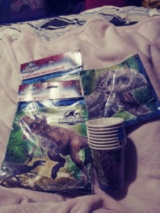 Jurassic world loot bags , cup and napkin
