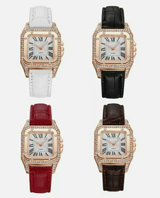 Fashion Women Square Crystal Stainless Steel Leather Quartz Analog Wrist Watches