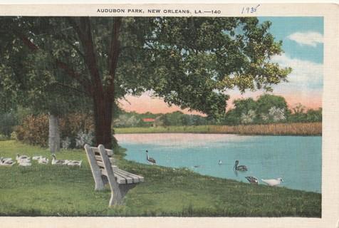 Vintage Unused Postcard: Linen: 1935 Audubon Park, New Orleans, LA