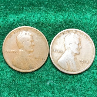 KEY DATE 1914-S and 1914-P Lincoln wheat Cent