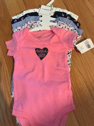 9fbea606a NWT 3M Carters 5 piece Onesie set (Floral, stripes, polka dots, wild about  daddy)