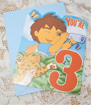 Cute Diego Birthday Card and Envelope for 3 yr. Old