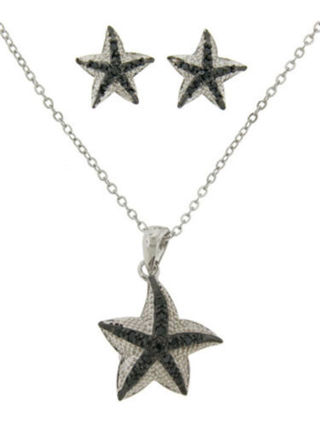 jewelry set cz star fish pendant earring sealife gold plate 2 pc white black NWT