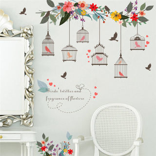 DIY Floral Birdcage Wall Stickers Removable Window Decals Bedroom Home Art Decor