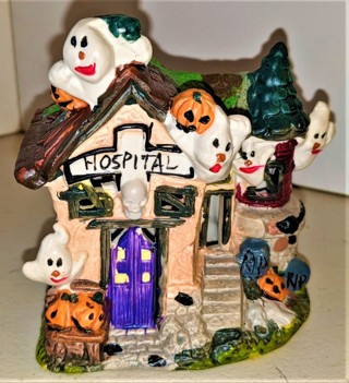 "Ceramic Haunted Hospital - size 4"" x 2 1/2"" x 4 1/4"" - 15 oz, - Excellent condition"