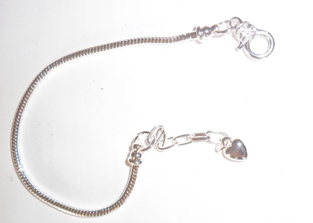 Euro-Style Sterling Silver-Plated Charm Bracelet