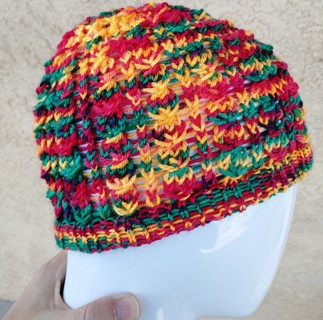 Light Lacy Hand Knit Christmas Colors Patterned Hat Cap Beanie Red Green Yellow