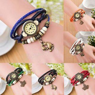 New Women Pendant Bracelet Watch Leather Analog Quartz Wristwatch Dress Watch