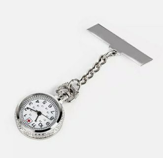 Fashion Silver Metal Chain Clip On Nurse Nursing Pendant Pocket Brooch Fob Watch