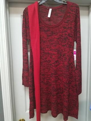 B & B Boutiques Sweater Dress & scarf ---Size M
