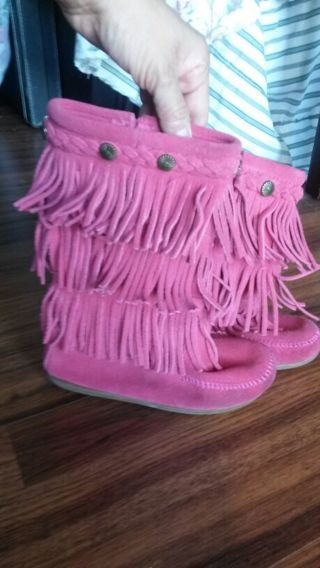shoes size 1 Minnetonka Moccasin Calf-High 3 Layer Fringe pink leather Boot