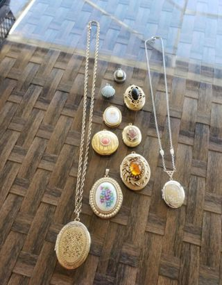 9 pc highly collectible Vntg. locket lot, shell pendant Makes 10 pieces