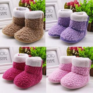 Toddler Baby Girls Shoes Newborn Prewalker Winter Warm Shoes Soft Sole Boots