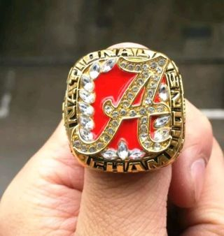 MEN'S SIZE 11 2009 ALABAMA CRIMSON TIDE COLLECTORS FOOTBALL CHAMPIONSHIP RING 18K GOLD PLATED