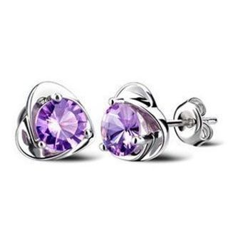 NEW Amethyst Stud earrings Heart Purple Amethyst .925 Sterling Stud Earrings Jewelry FREE