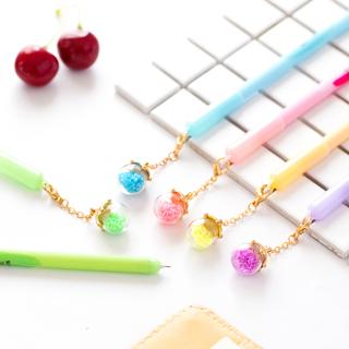 5 pcs/Lot Detachable pendant gel pen Fruit & Luminous wish ball black ink pen Gift Stationery office