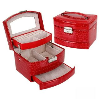 BN Crocodile Leather Design Jewelry Organizer Box