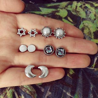 10 Pcs/set Bohemian Retro Moon Crystal Hollow Stars Geometric Silver Earrings Set Women Party