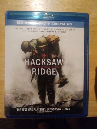 HackSaw Ridge Blue ray+DVD