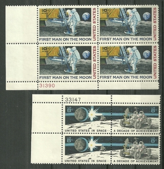 2 US Space Acheivement MNH plate blocks of 4