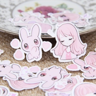 ✩ Bubblegum Pink Bunny Rabbit and Anime Girl High End Kawaii Sticker Flakes Set of 10 BRAND NEW ✩