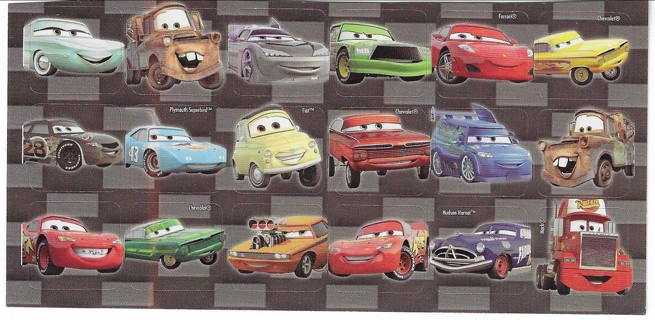 2 Brand New Never Been Used Sheets of Disney Cars Stickers