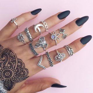 [GIN FOR FREE SHIPPING] 13PCs Boho Elephant Fatima Finger Knuckle Band Midi Stacking Rings