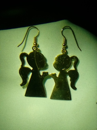 New Metal Gold Tone Angel Earrings in New Blue Bag